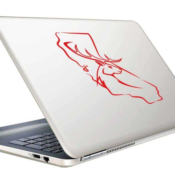 California Deer Buck Head Hunting Scope Vinyl Laptop Macbook Decal Sticker