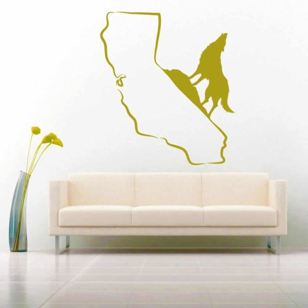 California Howling Wolf Vinyl Wall Decal Sticker