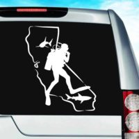 California Scuba Diver Sharks Vinyl Car Window Decal Sticker