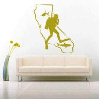 California Scuba Diver Sharks Vinyl Wall Decal Sticker