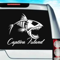Captiva Island Fish Skeleton Vinyl Car Window Decal Sticker
