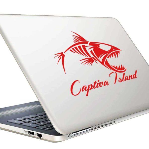 Captiva Island Fish Skeleton Vinyl Laptop Macbook Decal Sticker