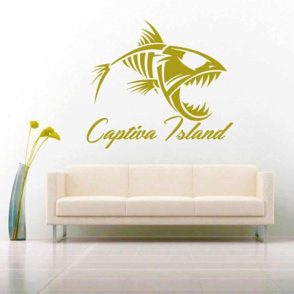Captiva Island Fish Skeleton Vinyl Wall Decal Sticker