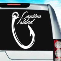 Captiva Island Fishing Hook Vinyl Car Window Decal Sticker