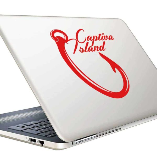 Captiva Island Fishing Hook Vinyl Laptop Macbook Decal Sticker