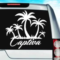 Captiva Island Palm Tree Island Vinyl Car Window Decal Sticker