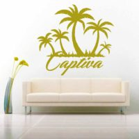 Captiva Island Palm Tree Island Vinyl Wall Decal Sticker