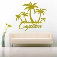 Captiva Island Palm Tree Island Vinyl Wall Decal Sticker