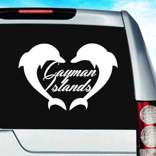 Cayman Islands Dolphin Heart Vinyl Car Window Decal Sticker