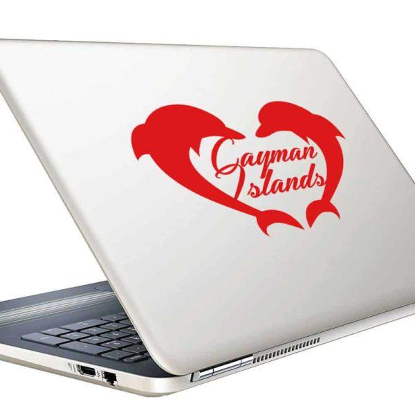 Cayman Islands Dolphin Heart Vinyl Laptop Macbook Decal Sticker