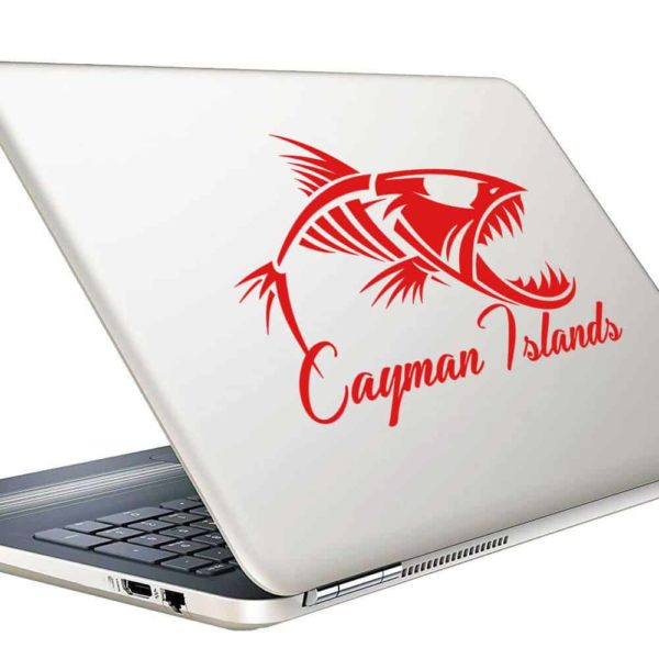 Cayman Islands Fish Skeleton Vinyl Laptop Macbook Decal Sticker