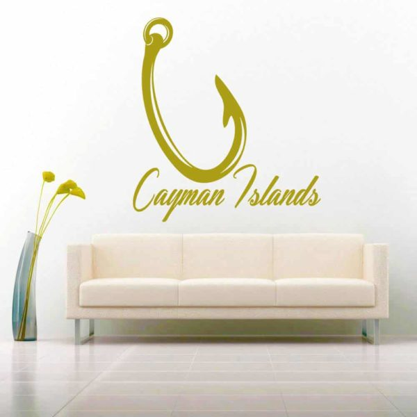 Cayman Islands Fishing Hook Vinyl Wall Decal Sticker