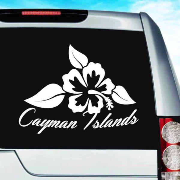 Cayman Islands Hibiscus Flower Vinyl Car Window Decal Sticker