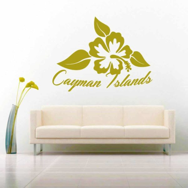 Cayman Islands Hibiscus Flower Vinyl Wall Decal Sticker