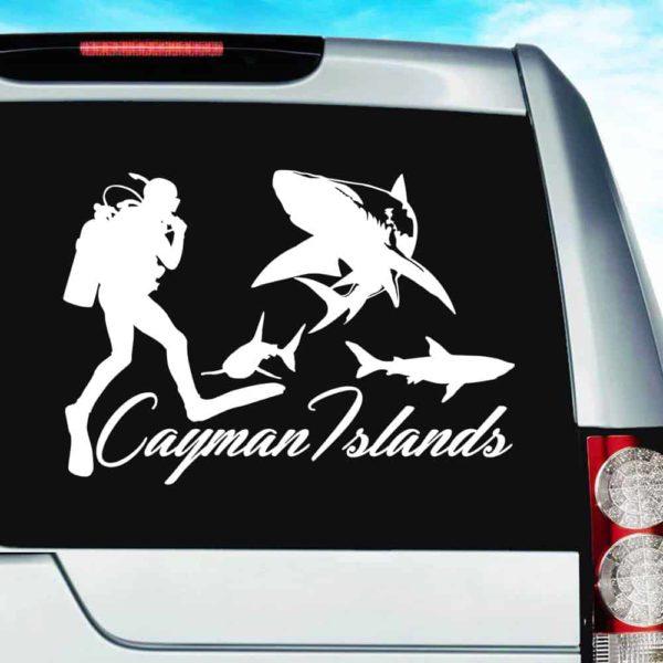 Cayman Islands Scuba Diver With Sharks Vinyl Car Window Decal Sticker