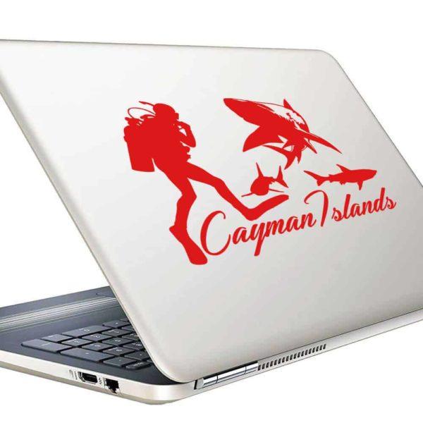 Cayman Islands Scuba Diver With Sharks Vinyl Laptop Macbook Decal Sticker