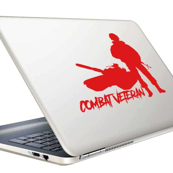Combat Veteran Soldier Tank Vinyl Laptop Macbook Decal Sticker