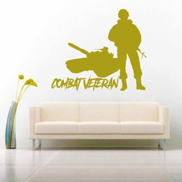 Combat Veteran Soldier Tank Vinyl Wall Decal Sticker
