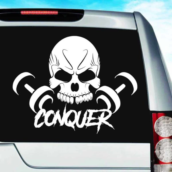 Conquer Skull Dumbbells Vinyl Car Window Decal Sticker