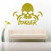 Conquer Skull Dumbbells Vinyl Wall Decal Sticker