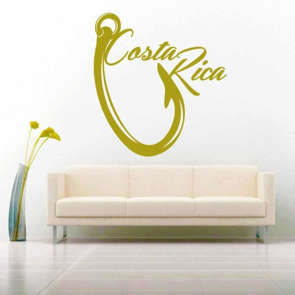 Costa Rica Fishing Hook Vinyl Wall Decal Sticker