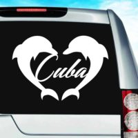 Cuba Dolphin Heart Vinyl Car Window Decal Sticker