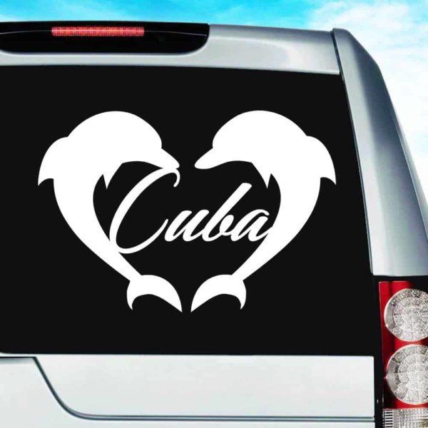 Cuba Dolphin Heart Vinyl Car Window Decal Sticker