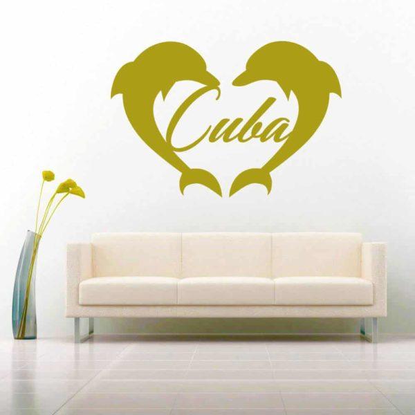 Cuba Dolphin Heart Vinyl Wall Decal Sticker