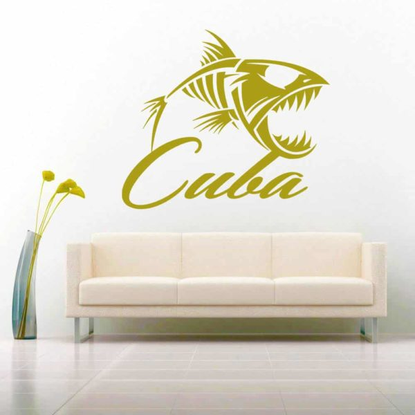 Cuba Fish Skeleton Vinyl Wall Decal Sticker