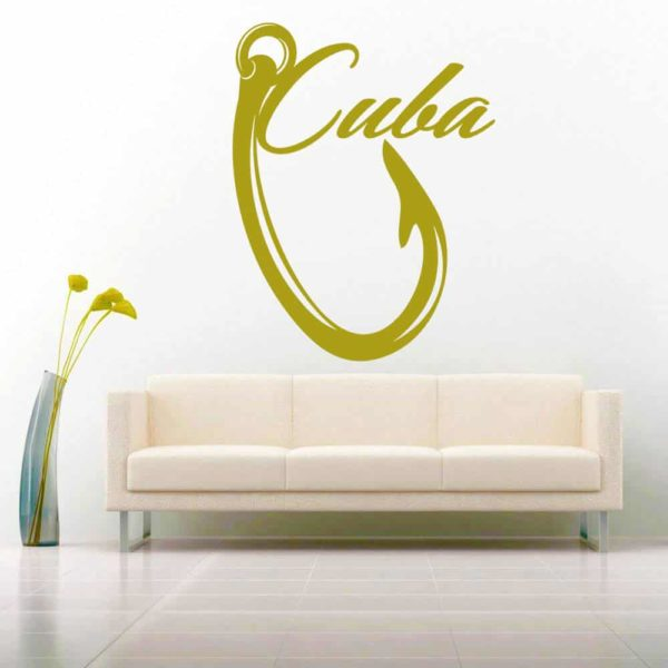Cuba Fishing Hook Vinyl Wall Decal Sticker
