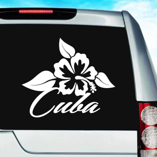 Cuba Hibiscus Flower Vinyl Car Window Decal Sticker