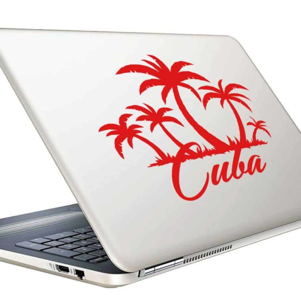 Cuba Palm Tree Island Vinyl Laptop Macbook Decal Sticker