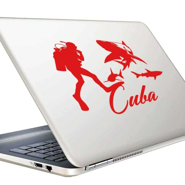 Cuba Scuba Diver With Sharks Vinyl Laptop Macbook Decal Sticker