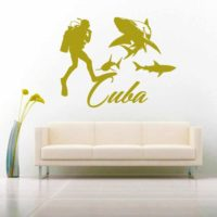 Cuba Scuba Diver With Sharks Vinyl Wall Decal Sticker
