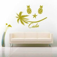 Cuba Tropical Smiley Face Vinyl Wall Decal Sticker