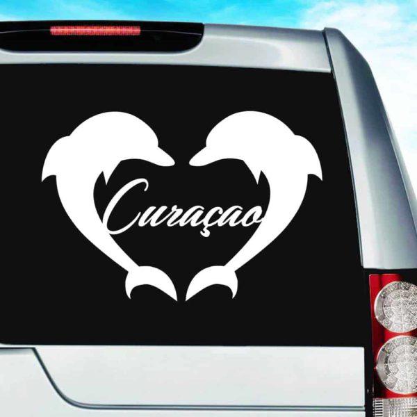 Curacao Dolphin Heart Vinyl Car Window Decal Sticker