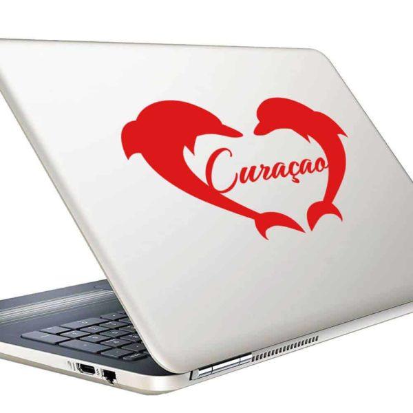 Curacao Dolphin Heart Vinyl Laptop Macbook Decal Sticker
