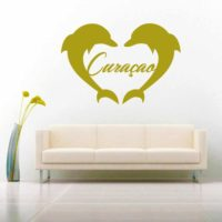 Curacao Dolphin Heart Vinyl Wall Decal Sticker