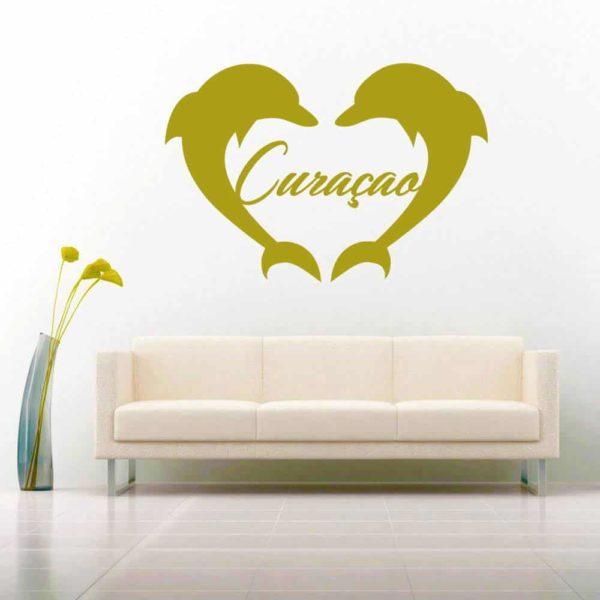 Curacao Dolphin Heart Vinyl Wall Decal Sticker