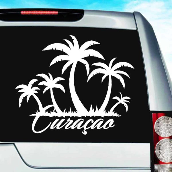 Curacao Palm Tree Island Vinyl Car Window Decal Sticker