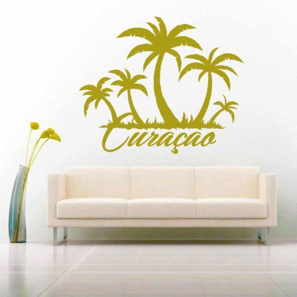 Curacao Palm Tree Island Vinyl Wall Decal Sticker
