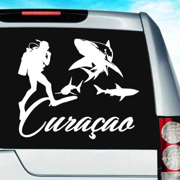 Curacao Scuba Diver With Sharks Vinyl Car Window Decal Sticker