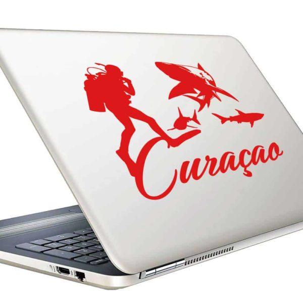 Curacao Scuba Diver With Sharks Vinyl Laptop Macbook Decal Sticker