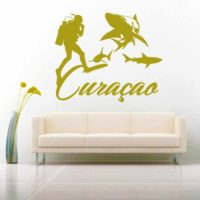 Curacao Scuba Diver With Sharks Vinyl Wall Decal Sticker