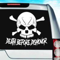 Death Before Dishonor Skull Vinyl Car Window Decal Sticker