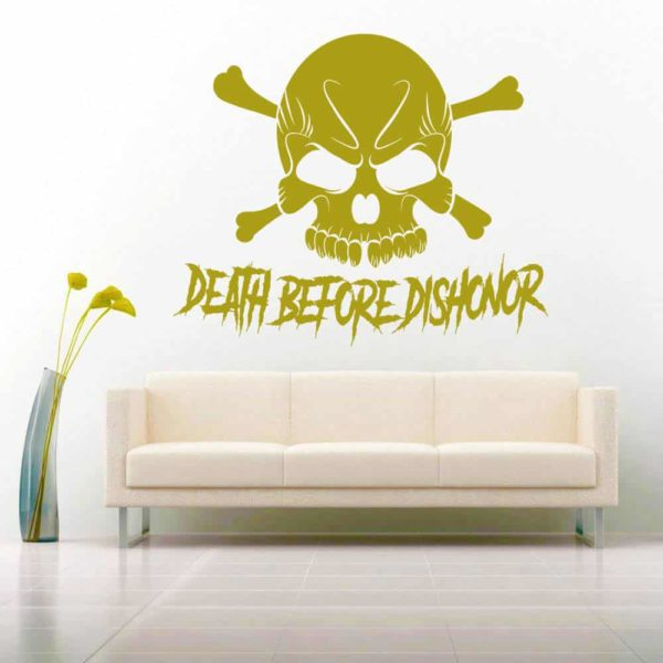 Death Before Dishonor Skull Vinyl Wall Decal Sticker