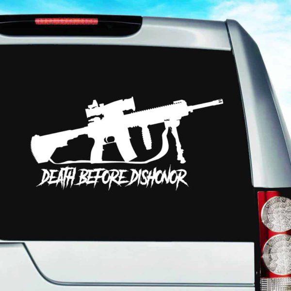 Death Before Dishonor Veteran Machine Gun Vinyl Car Window Decal Sticker