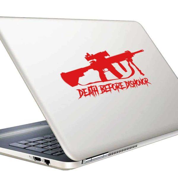 Death Before Dishonor Veteran Machine Gun Vinyl Laptop Macbook Decal Sticker