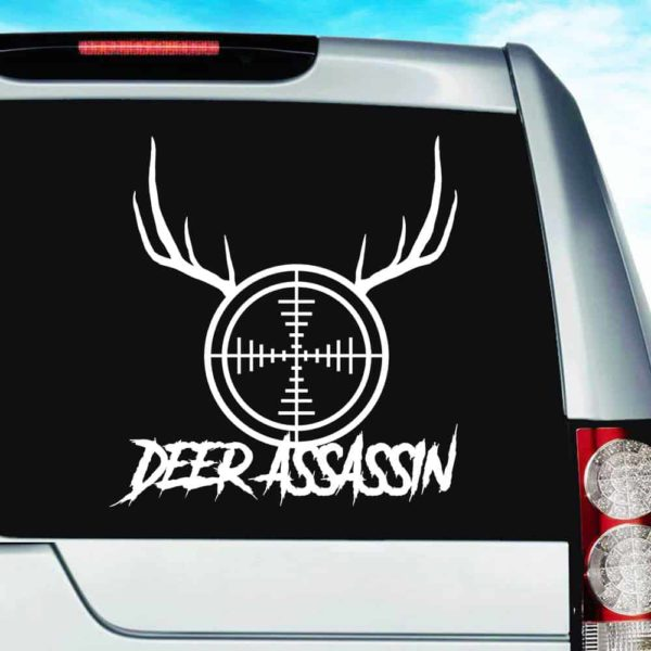 Deer Assassin Rifle Gun Scope Antlers Vinyl Car Window Decal Sticker