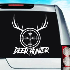 Deer Hunter Rifle Gun Scope Antlers Vinyl Car Window Decal Sticker